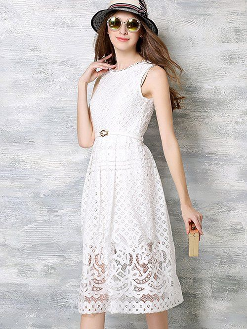 Embroidery Crochet Sleeveless Belted Dress