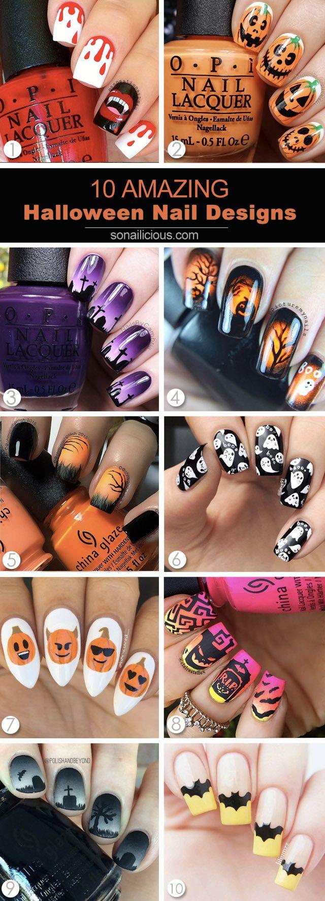 The best Halloween nail art of 2015: http://sonailicious.com/10-best-halloween-nails-on-instagram/