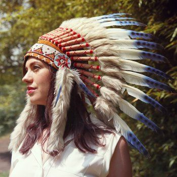 Native American Indian War Headdress - Brown Fur Blue Feather