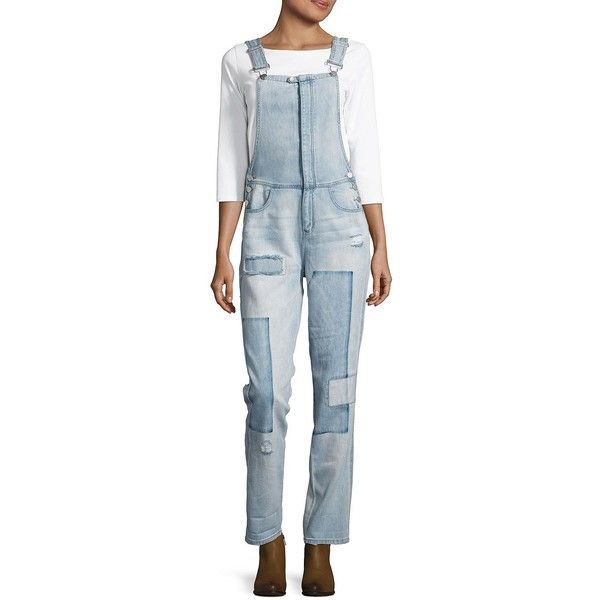 Design Lab Lord & Taylor Women's Light Wash Patchwork Cotton Overall ($16) ❤ liked on Polyvore featuring jumpsuits, light wash, cotton jumpsuit, blue jumpsuit, blue bib overalls, bib overalls and cotton overalls