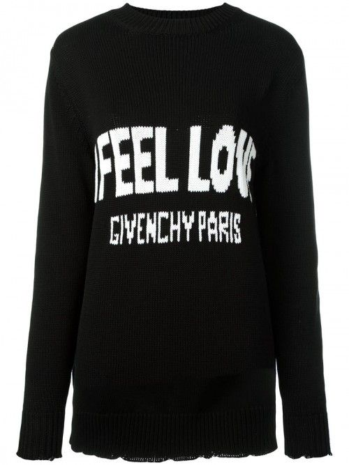 Givenchy+Love+Intarsia+Knit+Jumper+Women+Cotton+Black+Cotton+|+Dress+and+Clothing