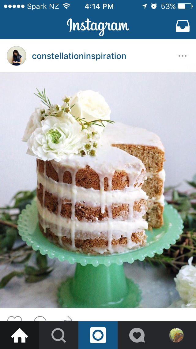 Naked cake with white glaze