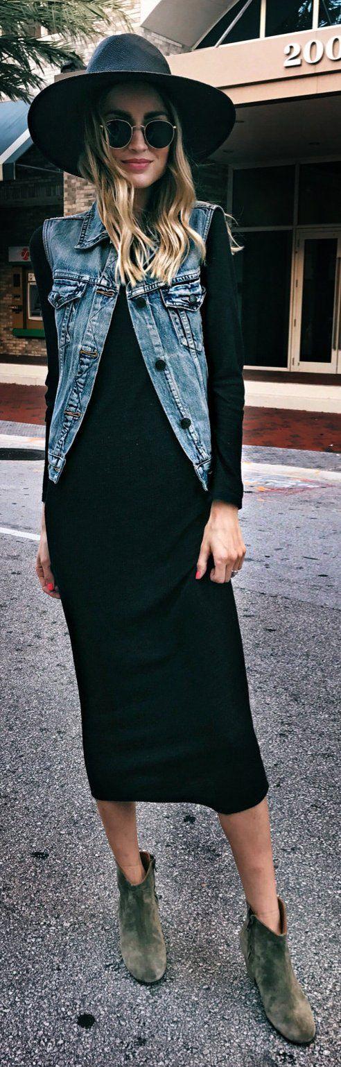 Black Hat / Denim Vest / Black Maxi Dress / Green Suede Booties