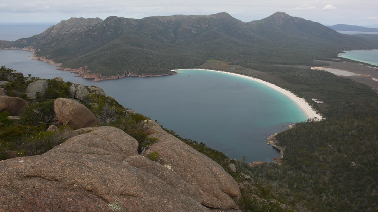 This is Wine Glass Bay Tasmania     Australia    we Holidayed here in 1999 and so proud to say I climbed to the top and worth ever step of the way