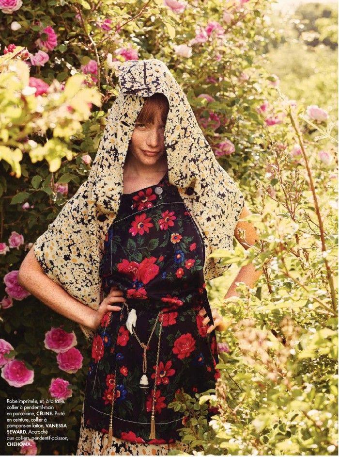 Amanda Smith Wears Romantic Prints, Lensed By David Burton For Elle France Aug 7,2015