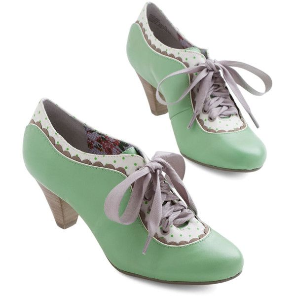 Poetic License Vintage Inspired Model Home Heel ($69) ❤ liked on Polyvore featuring shoes, pumps, heels, mint, pump heel, embellished pumps, mint green pumps, party pump, cat shoes and polka dot shoes
