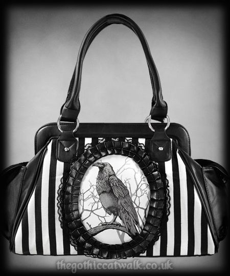 Cameo Purses And Handbags Raven Print Gothic Bag Stripes Fashion Accessories Pinterest Ravens Purse