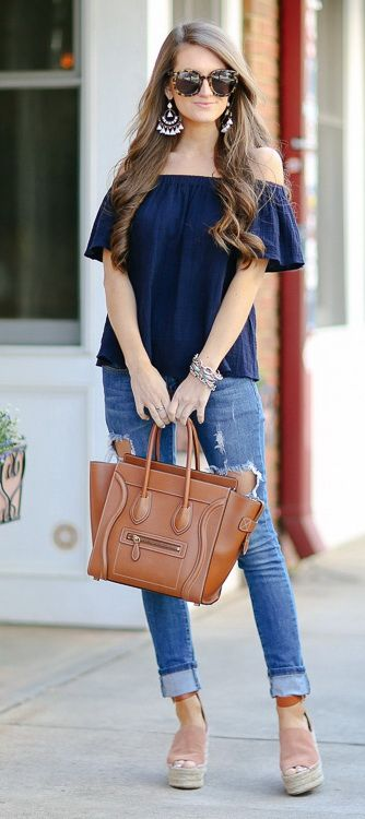 Navy Off Shoulder Top