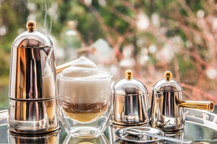 step 3. Carmencita Lavazza (stovetop, sugar bowl, creamer, tray) + bodum glass