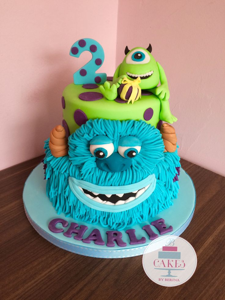 Monsters Inc Sullivan And Mike 2 Tier Bright Birthday Cake