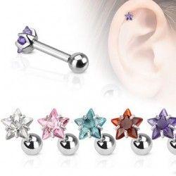 Een mooie oorpiercing met een sterretje. Kies nu een nieuwe oorpiercing (helix of tragus).  - www.piercinghouse.com