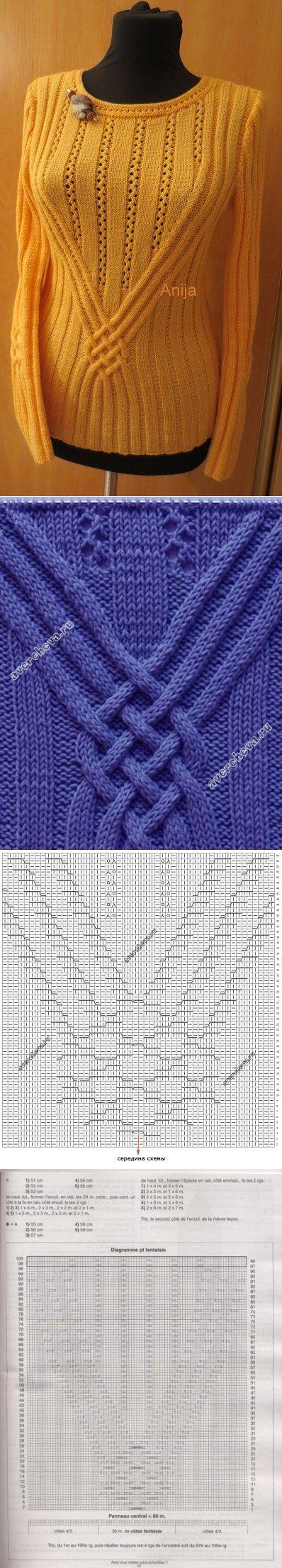 женский пуловер спицами с оригинально использованым аранским узором