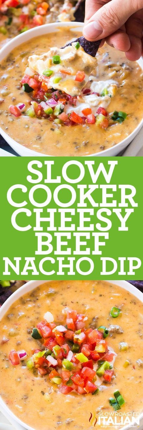 Slow Cooker Nacho Dip recipe is luxuriously creamy and cheesy, loaded with perfectly browned ground beef, diced chiles and hot salsa.