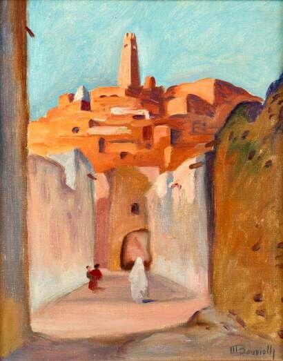 Algérie - Peintre Français, Maurice BOUVIOLLE(1893-1961), Huile sur toile, Titre: Une rue à Ghardaïa.