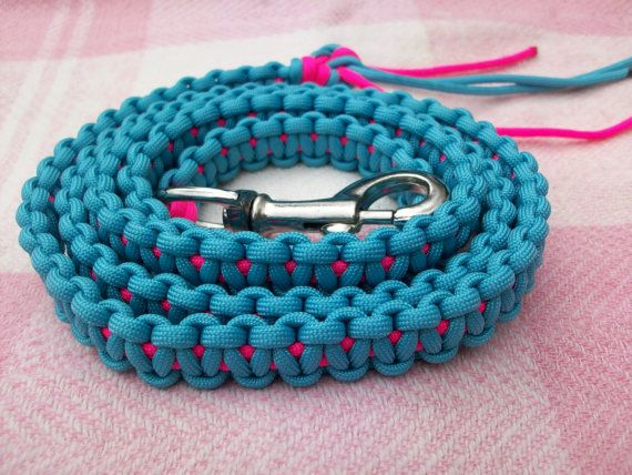 """New Handmade Horse Pony Lead Rope Heavy Duty Paracord Cobra Knot Teal & Pink.  New Cobra Braid Heavy Duty Paracord Horse Lead Rope with Swivel Snap. JTeal and Pink paracord, 550 lb weight. 58"""" long with loose strings at the end for swatting flies.  $17.50 plus $2.50 shipping  https://www.etsy.com/shop/ShabbyMountain102"""