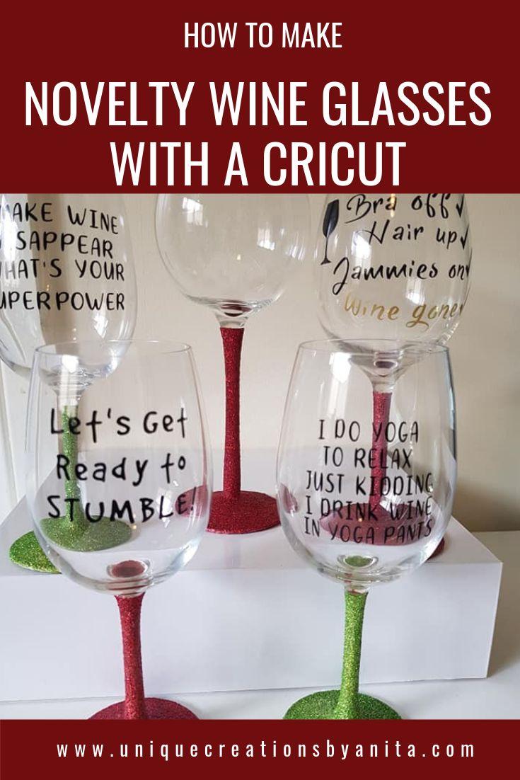 Custom Made Glitter Wine Glasses Using Cricut Unique Creations By Anita Glitter Wine Glasses Diy Wine Glasses Glitter Wine