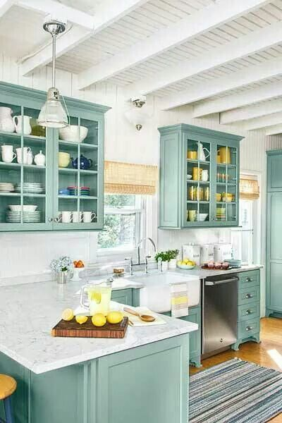 Bright kitchen with nautical pendant light