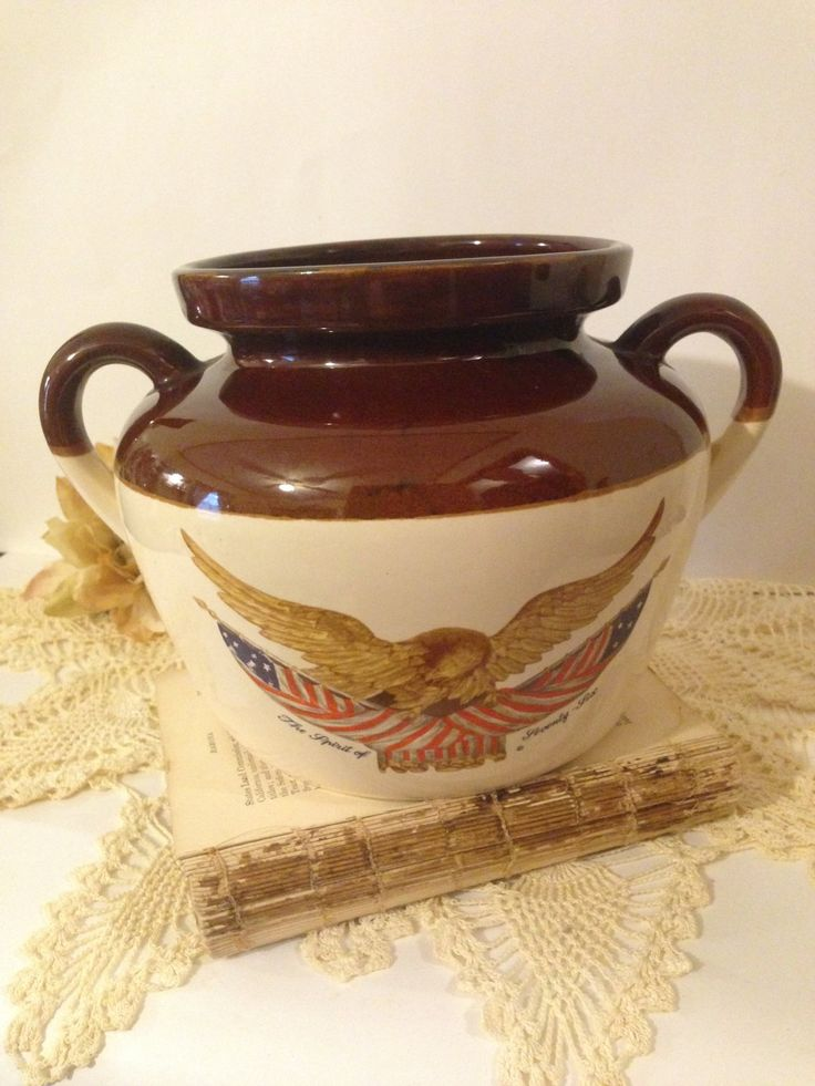 Primitive Stoneware Eagle Crock National Gallery Of Art Washington DC Collectible Pottery Spirit of 76 Two Toned Bean Pot American Flag by ThePokeyPoodle on Etsy