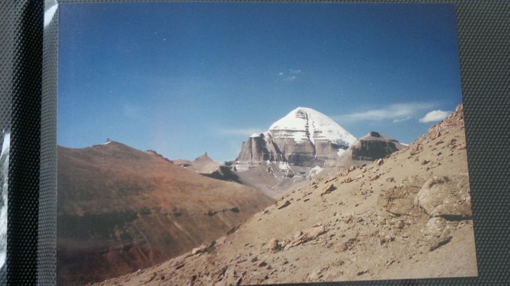 A classic view of Mount Kailash taken from a high location about the Genta Temple in a valley south of the Mountain...