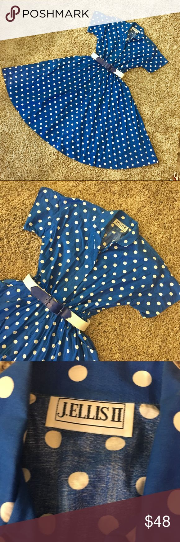 """Vintage Blue Polka Dot Belted Circle Skirt Dress This lovely dress has a collared top, a hem that hits mid-calf, and reminds me of Lucille Ball!  Dress has an elastic waist which can be belted with the included blue and white belt.  Did I mention it has pockets?!? No rips or tears, but there are several very faint yellow spots on the left breast and left upper thigh.  Not noticeable to me until I was inspecting it closely for listing.  Blouse part has clear buttons. Measurements: 47"""" length…"""