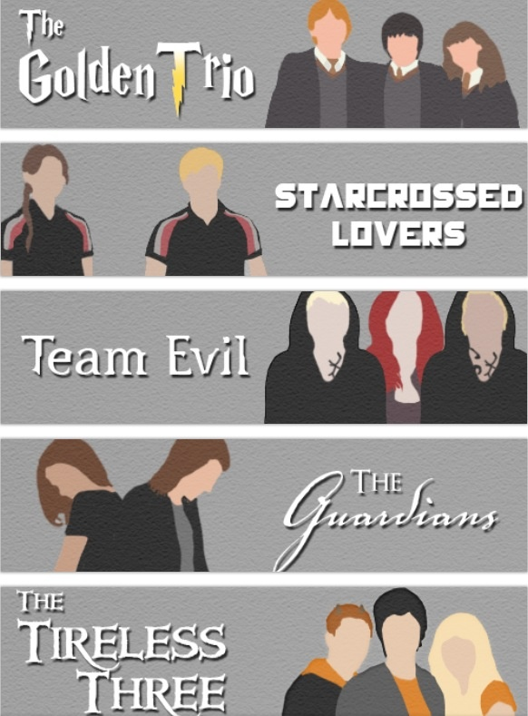 The series of several book teams and groups including... Harry Potter, The Hunger Games, The Mortal Instruments, The Vampire Academy, and Percy Jackson. The best books out there! ~