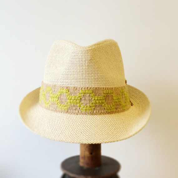 Straw Fedora hat with trim, Summer Fedora, Fedora Beach Hat, Chic Fedora, Panama Jack Fedora on Etsy, $27.50