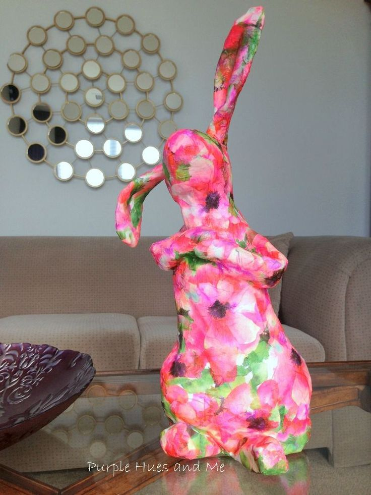 Recycled Decoupaged Paper Mache Bunny