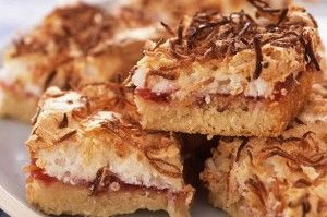 These shredded coconut mallow jam squares are quick, easy and delicious sweet treats that are perfect as kids' party food.Get the recipe: Shredded coconut mallow jam squares