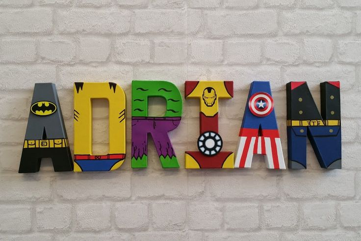 3D Papier Mache hand painted 6 letter name  If you require a longer name please select 7 or 8 letters from the drop down menu  If you need a different number of letters please see my other listing: https://www.etsy.com/listing/274659772/superhero-letters-personalised-hand?ref=related-0  These awesome hand painted super hero letters are an ideal gift, great for any kids bedroom/den or the superhero fan in your life.  20cm Papier Mache 3D letters are all indiv...