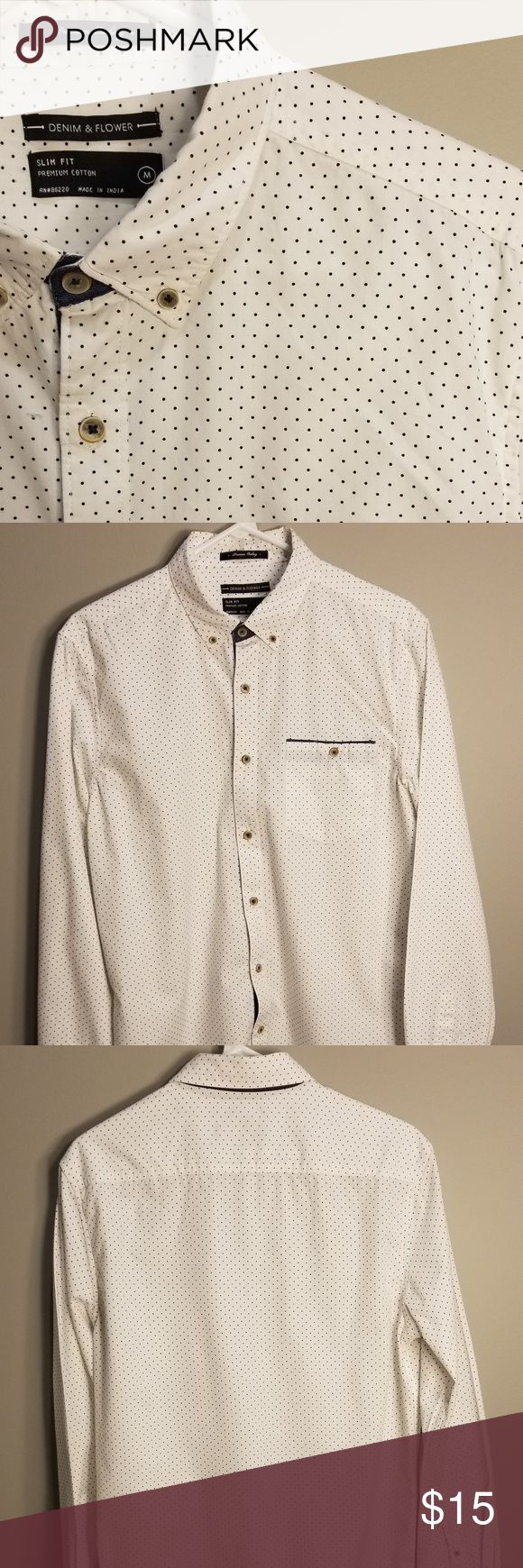 Denim & Flower Slim Fit Dress Shirt Excellent used condition! Like new! Looks great! Denim & Flower Shirts Dress Shirts