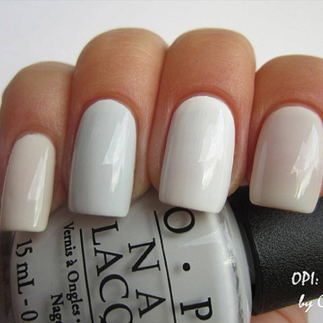 OPI White Nail Polish Comparison -  by charme_cosmo - Index - OPI Funny Bunny  - Middle - OPI Alpine Snow  - Ring - OPI My Boyfriend Scales Walls  - Pinkie - OPI peace baby  Source link: http://www.flickr.com/photos/charme_cosmo/7495250880/
