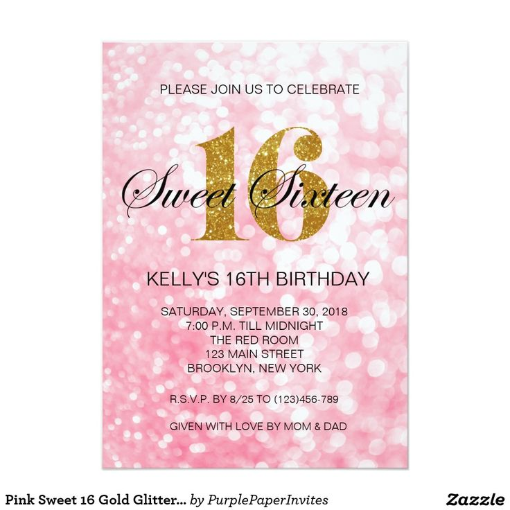 13 best birthday invites images on pinterest invites zazzle pink sweet 16 gold glitter lights invitation stopboris Images