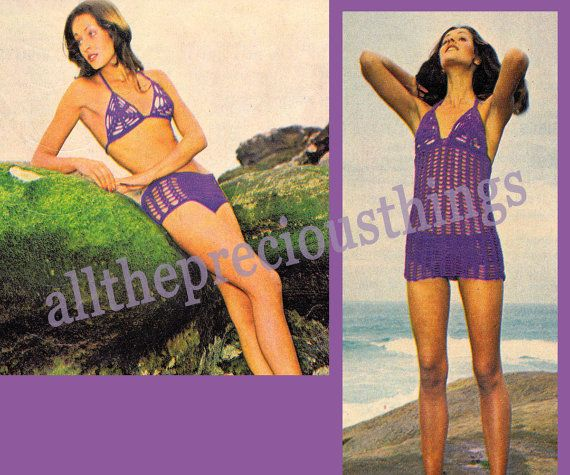 Early 1970s beach set, comprising a crochet bikini and cover up, as illustrated.    The pattern comes in 2 sizes; to fit bust 32 inches or