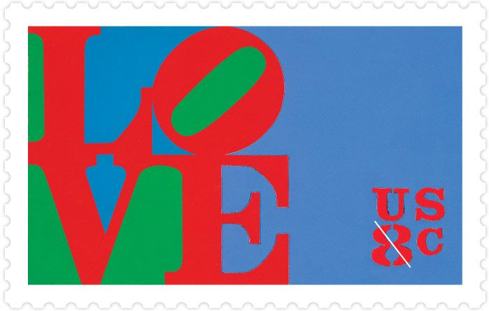 "The first love stamp issued in the U.S. was an 8¢ stamp, issued in January 1973, depicting a colorful graphic of the word ""LOVE"" designed by Robert Indiana."