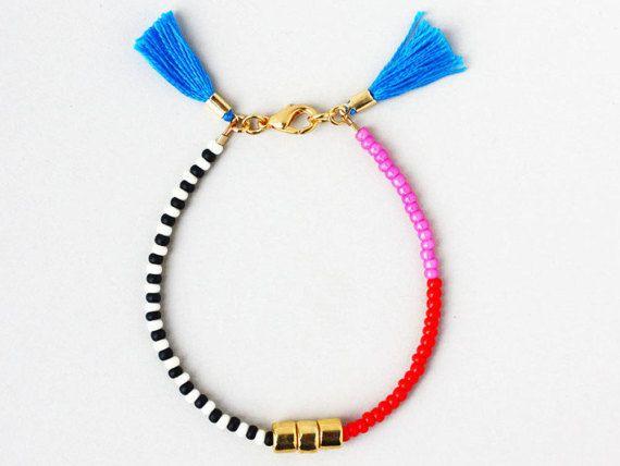 Friendship Bracelet Bracelet with Tassel Color block