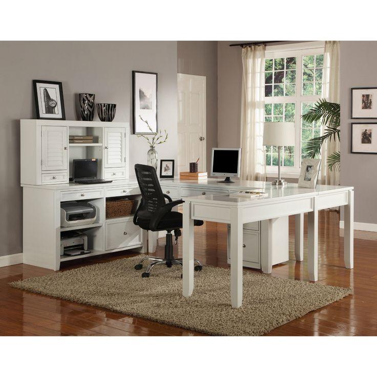 parker house boca u shaped desk with credenza and hutch cottage white desks at hayneedle. Black Bedroom Furniture Sets. Home Design Ideas