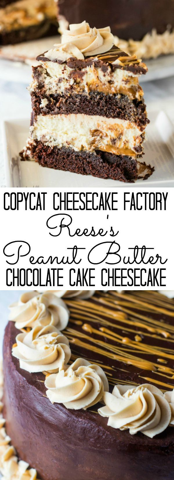 Delicious layers of moist chocolate cake, Reese's cheesecake, caramel and peanut butter make up this Copycat Cheesecake Factory Reese's Peanut Butter Chocolate Cake Cheesecake. More