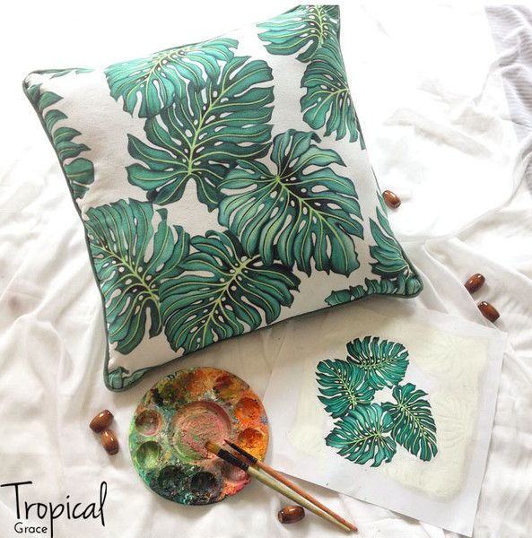 Behind the collection... Sweet Monstera cushion - Tropical Grace Blog