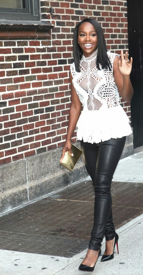 Aja Naomi King in J BRAND's L8001 Mid-Rise Stretch Leather in Noir.
