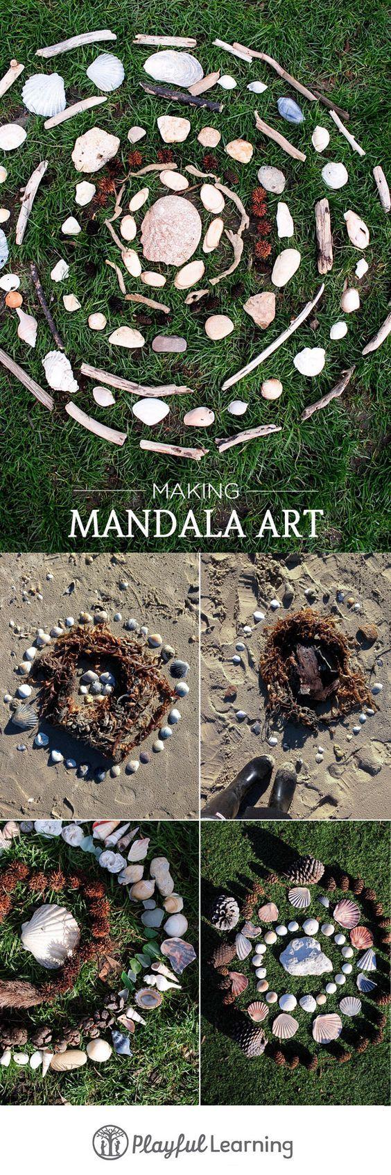 Kinder Draußen beschäftigen mit Mandalas aus Steinen oder Muscheln ***  A great way to spend quality time with kids outside - Mandala with stones or shellfish