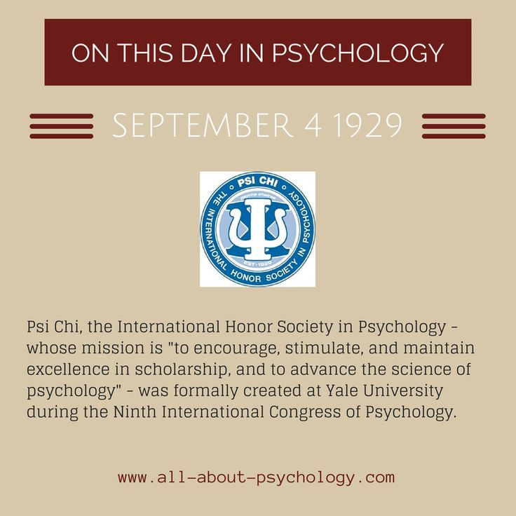 4th September 1929. Psi Chi, the International Honor Society in Psychology was formally created at Yale University. Click on image or GO HERE --> www.all-about-psychology.com for free psychology information & resources.