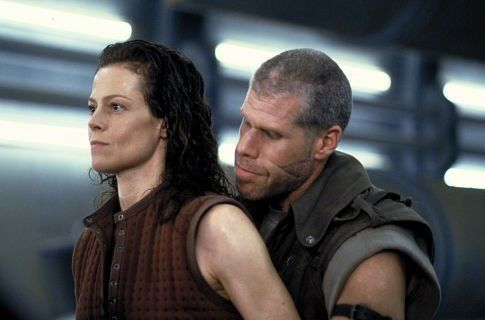Ron Perlman as Johner about to find out that he is messing with the wrong woman Sigourney Weaver as Ripley in Alien: Resurrection.