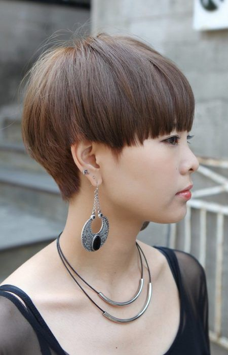 Mushroom Cut Hairstyle for Women. A mushroom cut features a fashionable look with the hair having a longer look on the sides while still creating a fine frame around the face.