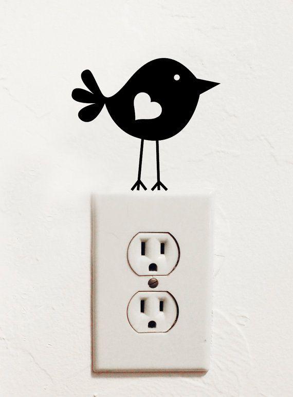 Uccello sveglio parete vinile interruttore di dadavinylsanddesigns