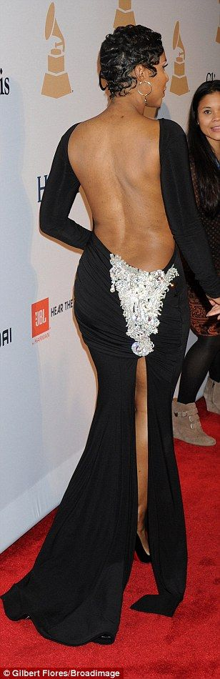 Baby got back:Toni Braxton showed off more skin than anyone else in a black gown that loo...