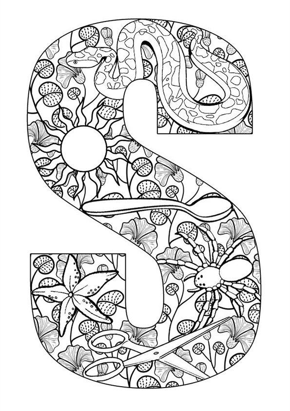 Kleurplaat volwassenen letters