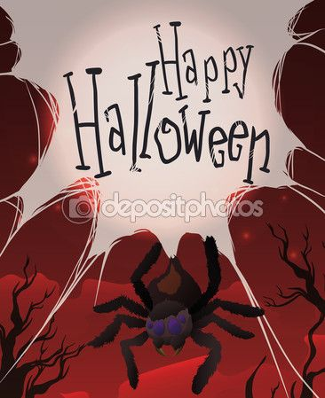 Spider Hanging of its Web in a Red Night of Halloween