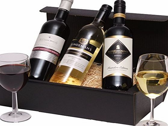 Clearwater Hampers Mixed Trio Wine Hamper - Classic Australian Wine Gift - Three Wines 2 x Red Wine, 1 x White Wine This Great Wine Gift includes:  75cl Rosemount Founders Selection Shiraz 2015, 75cl Auction House Cabernet Sauvignon Merlot 2014, 75cl Lindemans Winem (Barcode EAN = 5060310845802) http://www.comparestoreprices.co.uk/december-2016-week-1-b/clearwater-hampers-mixed-trio-wine-hamper--classic-australian-wine-gift--three-wines-2-x-red-wine-1-x-white-wine.asp