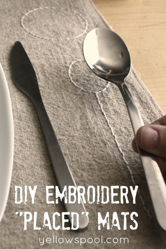 DIY Embroidery Place Mats by Yellow Spool