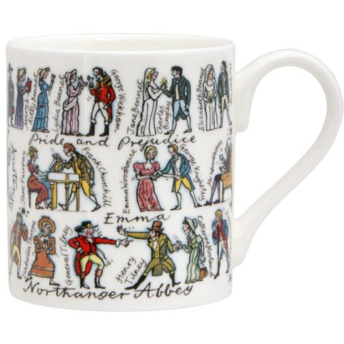 "Jane Austen character mug from The Literary Gift Company. ""Jane Austen's characters are humorously depicted on this mug. Lydia Bennet is chatting up Wickham as Jane and Elizabeth get married, Catherine Morland has dropped her novel and Mr. Woodhouse is enjoying a cup of tea in his chair."" There's also a Dickens mug:  http://www.theliterarygiftcompany.com/charles-dickens-mug-15807-p.asp"